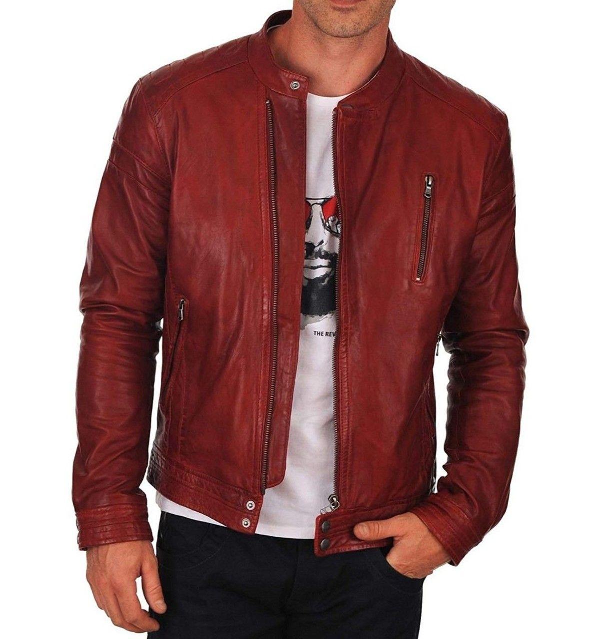 New Handmade Men S Maroon Biker Lamb Skin Leather Jacket Leather Jacket Men Jackets Men Fashion Men S Coats And Jackets [ 1280 x 1197 Pixel ]