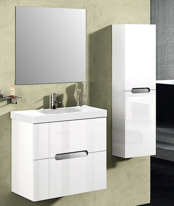Abella 24 inch Modern White Finish Bathroom Vanity with Mirror