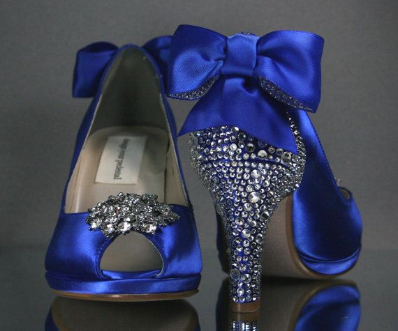 Wedding Shoes Royal Blue Peep Toe Wedding By Designyourpedestal