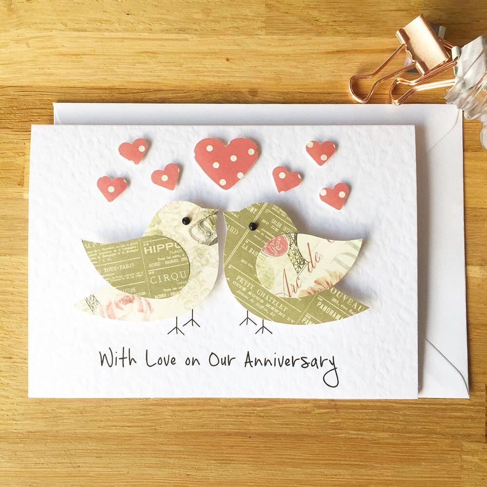 Anniversary Card Love Birds Card 3d Card Handmade Etsy Anniversary Cards Handmade Anniversary Cards Anniversary Cards For Husband