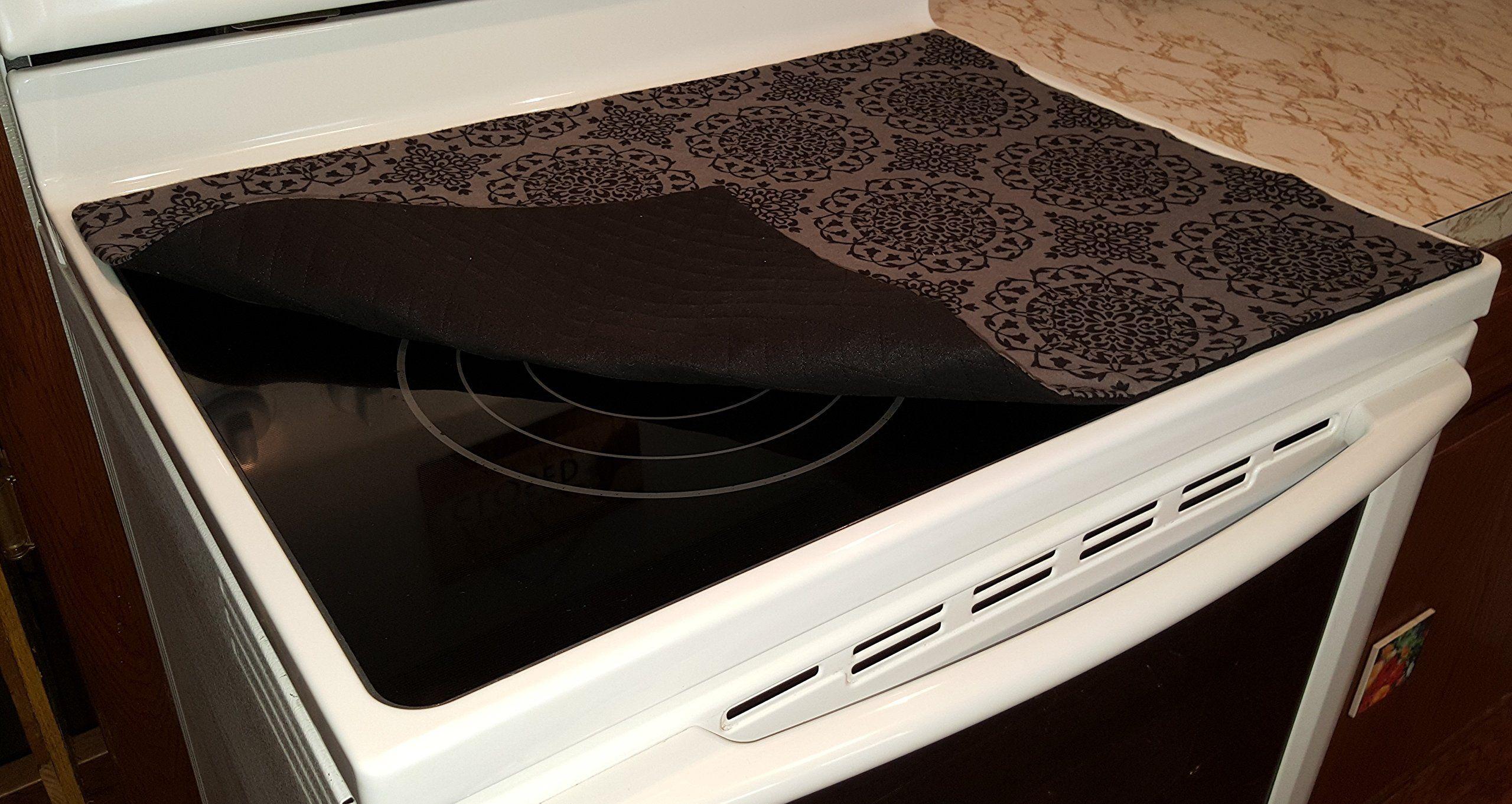 Gray black medallion damask glass stove top cook top