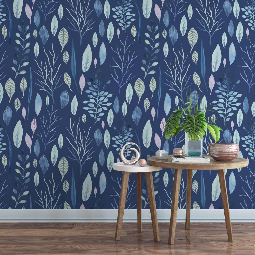 Sea floral botanical removable wallpaper / navy self