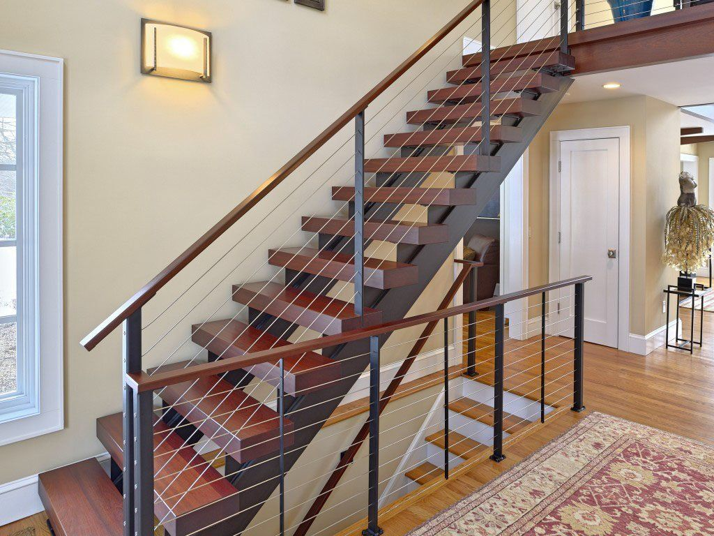 Custom double stringer steel floating staircase and for Free floating stairs