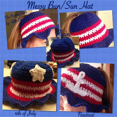 The Perfect Stitch Messy Bunsun Hat Free Red White And Blue