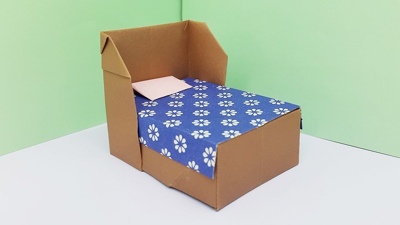How To Make A Paper Bed For Doll House Origami Bedding Paper Crafts Paper Crafts Kids Doll House Crafts