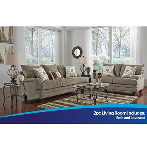Lease 2 piece mello collection sofa and loveseat aarons - Woodhaven living room furniture collection ...