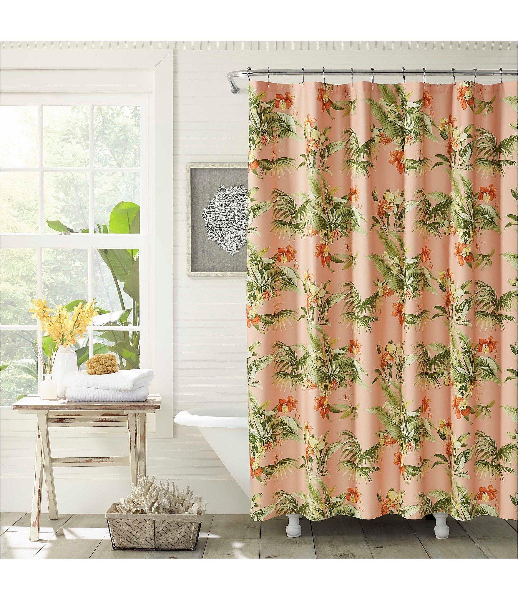 Tommy Bahama Siesta Key Shower Curtain Cantaloupe 72 In X 72 In In 2020 Tommy Bahama Floral Shower Curtains Curtains