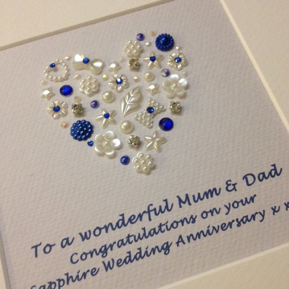 Personalised Sapphire Wedding Anniversary Gift - 45th Sapphire Wedding Anniversary, 45 Years, Sapphire Anniversary Gift, Parents 45th