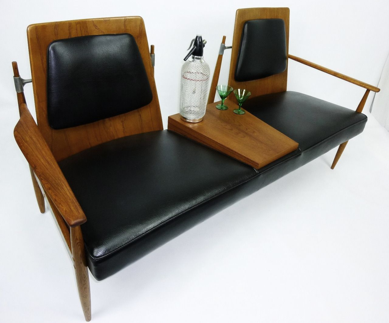 vintage 2 seat bench with built in center table design via rh pinterest com