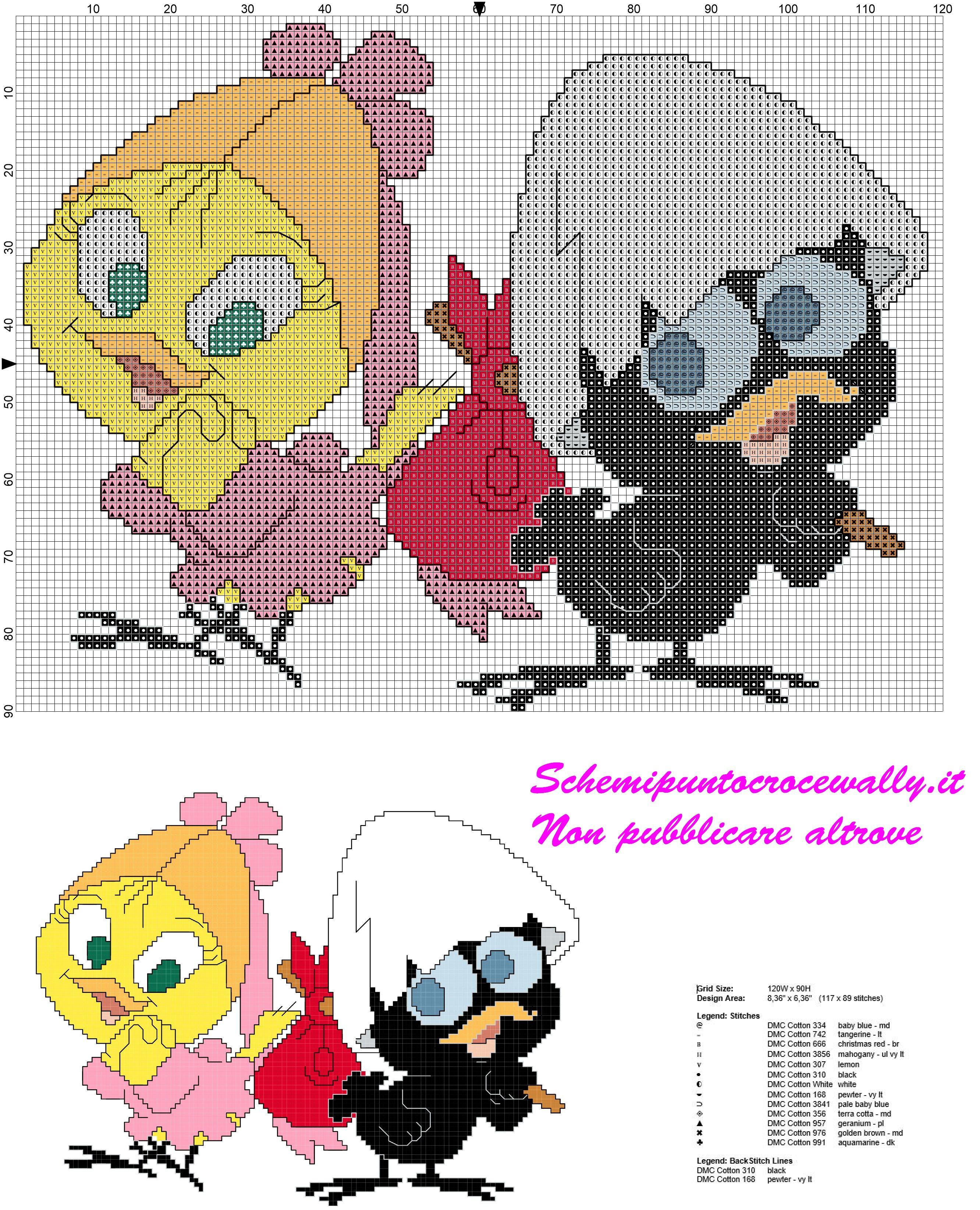 Schema punto croce gratis calimero e priscilla per bambini for Farfalle a punto croce per bambini