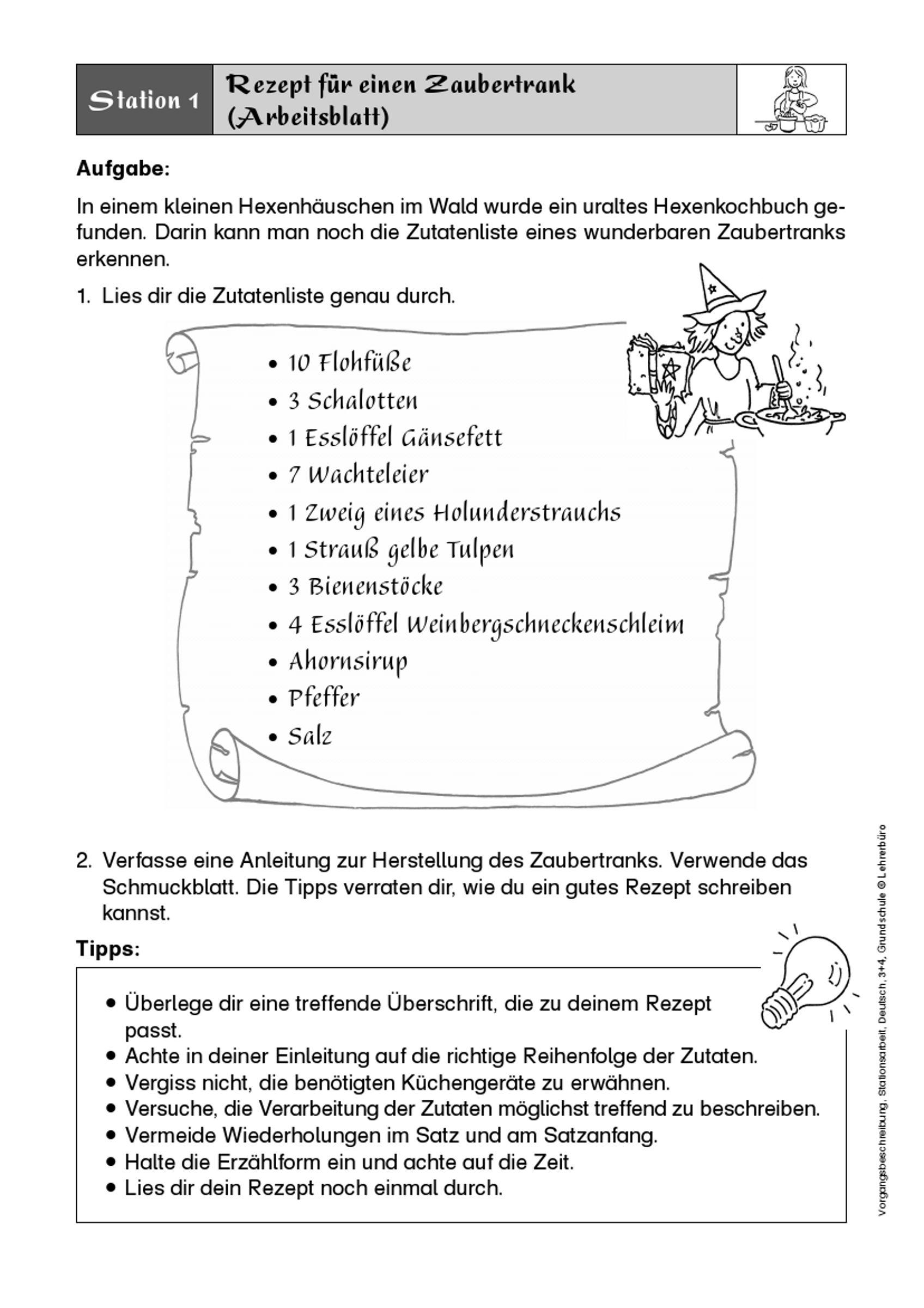 Afbeeldingsresultaat Voor Rezept Schreiben Grundschule Vorgangsbeschreibung Lebenslauf Grundschule