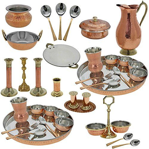Indian Traditional Copper Dinner Set Wedding Gift For Newly Wed Couple ShalinIndia http://www.amazon.com/dp/B00OLLOZJG/ref=cm_sw_r_pi_dp_1cHtwb0G8SCEQ