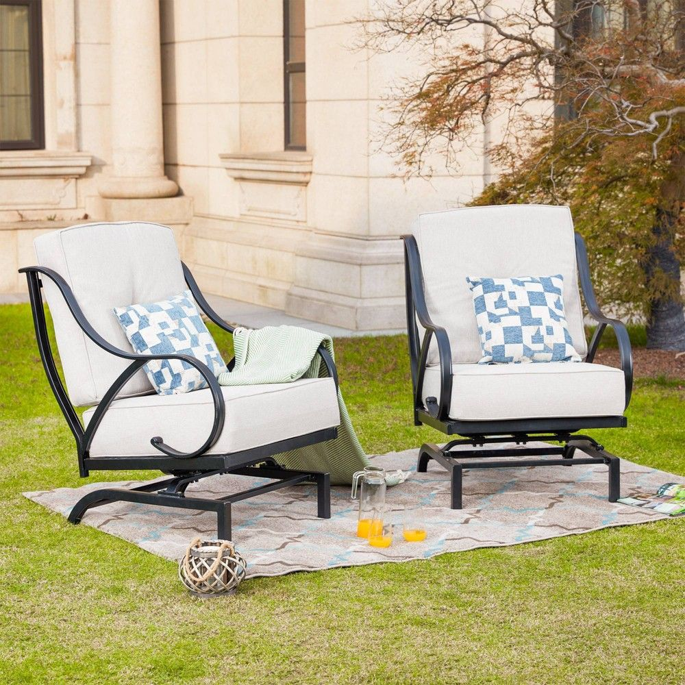 Steel Spring Patio Accent Chair Cream Lokatse Patio Accents Patio Chairs Contemporary Adirondack Chairs