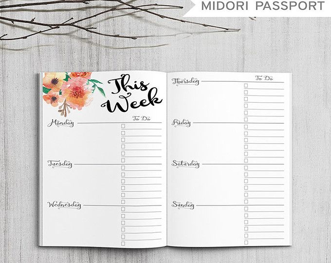 Printable Bullet Journal Weekly inserts, Midori Weekly Planner, Printable Midori Traveler's Notebook weekly planner inserts, PDF file #softwaredesign