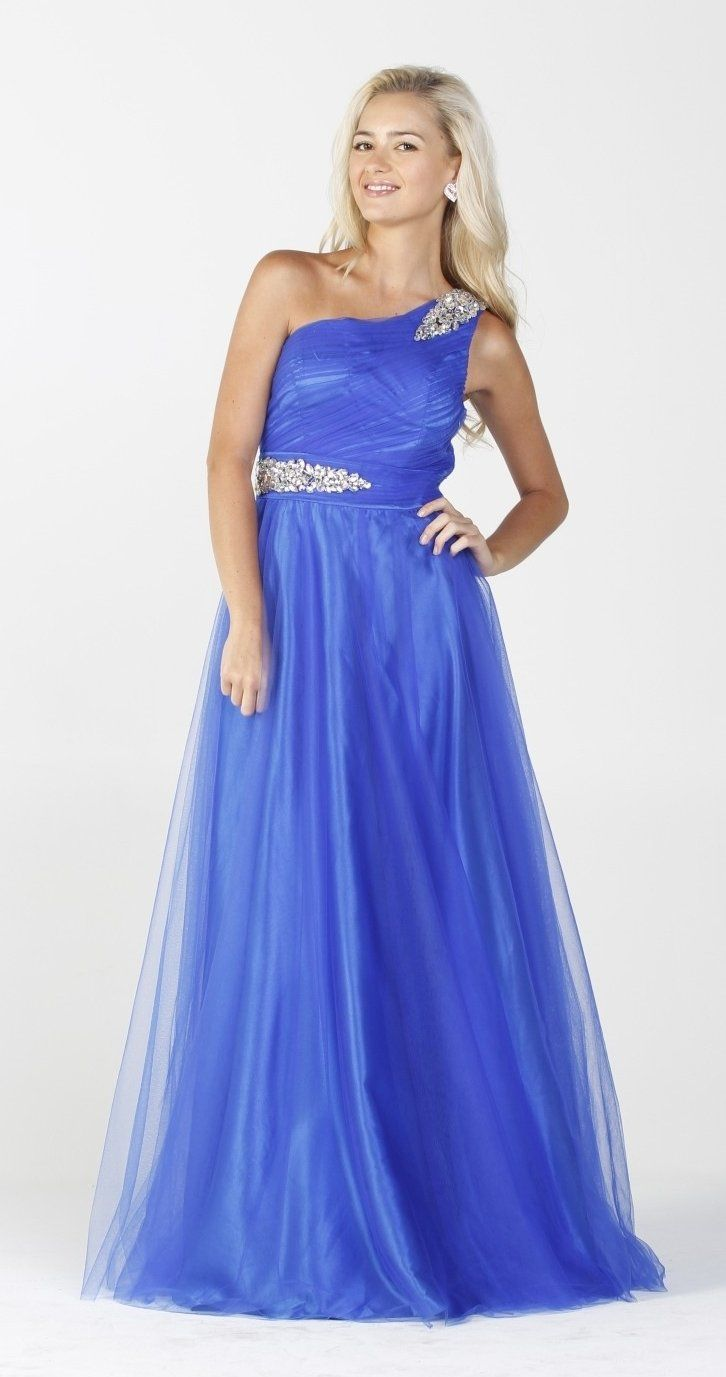 Mesh overlay formal royal blue long maxi dress ruched one shoulder