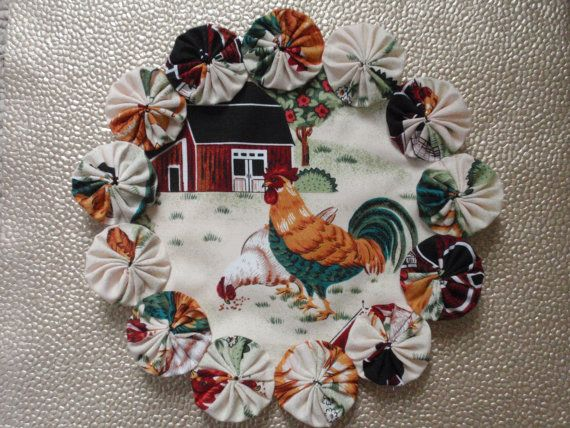 Chickens in the Barnyard Doily Candle Mat by SursyShop on Etsy, $8.00