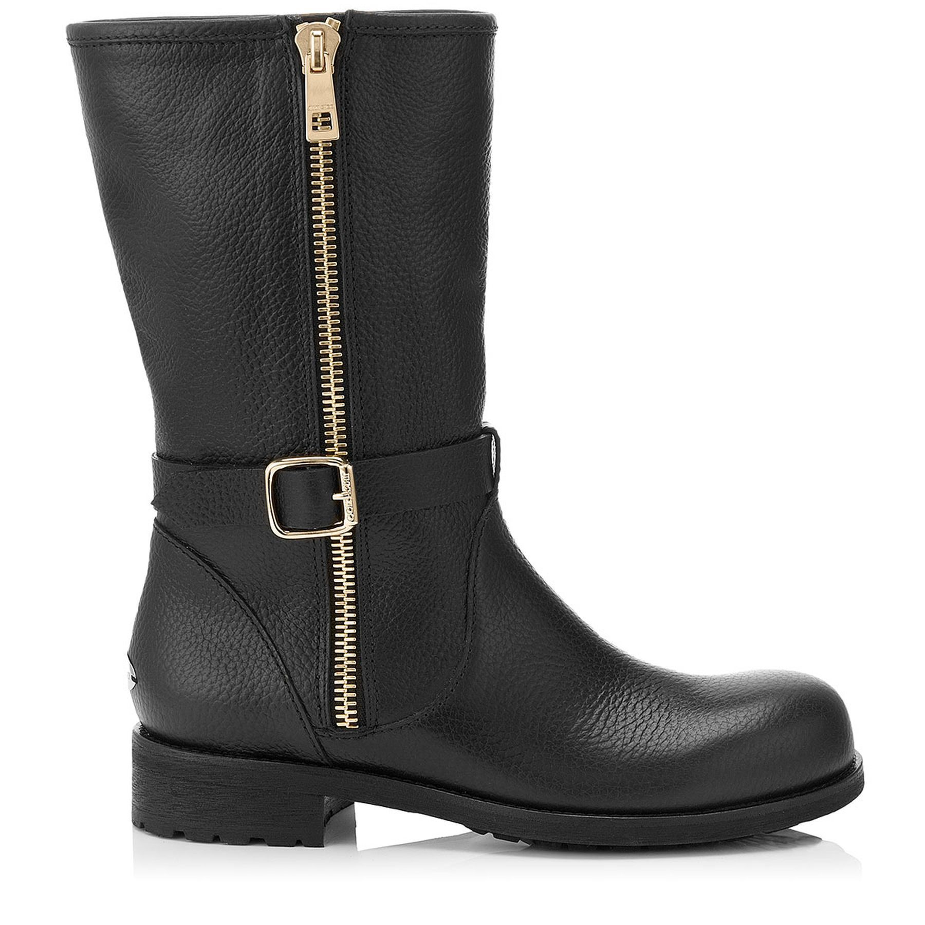 Black Grainy Leather Boots | Durum | Cruise 15 | JIMMY CHOO Shoes