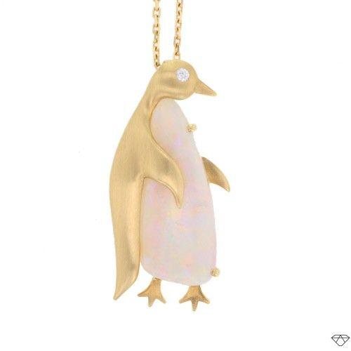 Collier pingouin en or et opale