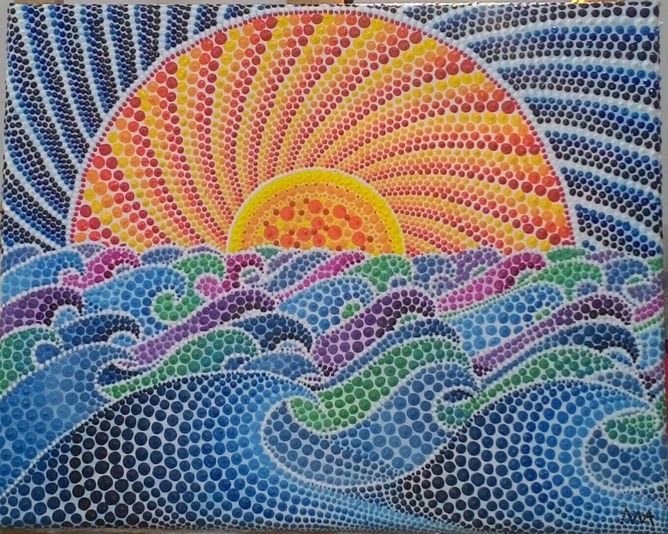 Quadro tecnica puntinismo con colori acrilici tramonto for Immagini sole da colorare