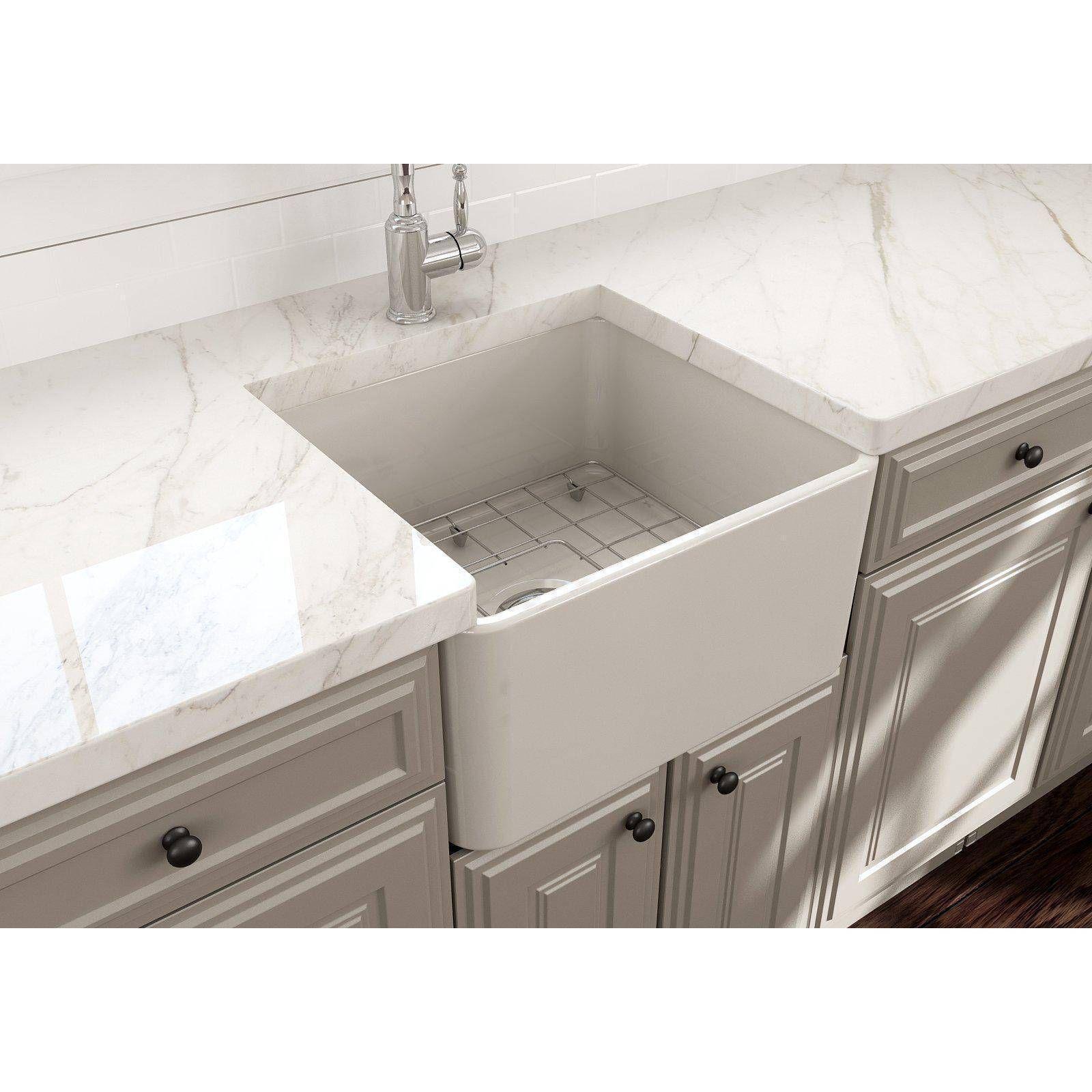 Bocchi Classico 20 White Fireclay Single Bowl Farmhouse Sink W