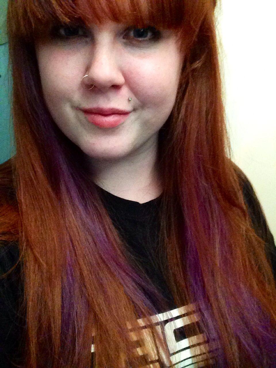 Natural Red Hair With Purple Peekaboo Purple Hair Red Purple