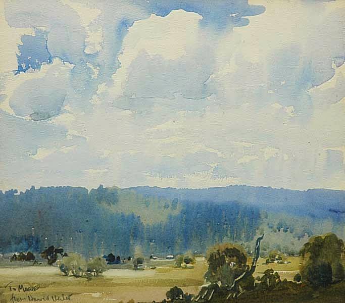 Harold Brocklebank Herbert (1892 — 1945, Australia) View of the Distant Mountain Range. watercolour. 31.5 x 35.5 cm.