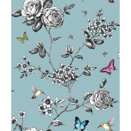 Grandeco Teal Rose Garden Bird Butterfly Floral Wallpaper Free Wallpaper Paste In Home Furniture D Floral Wallpaper Floral Illustrations Wallpaper