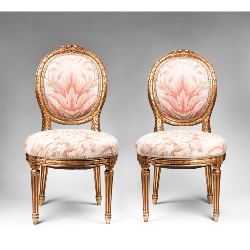 Nice Pair Of Giltwood Carved Louis XVI Side Chairs