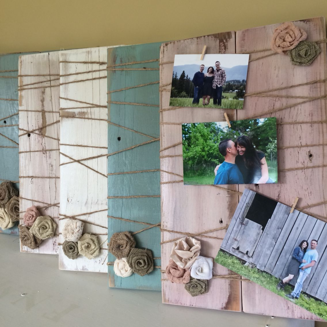 Barn wood vintage photo picture frame. Clothes peg you photos on ...