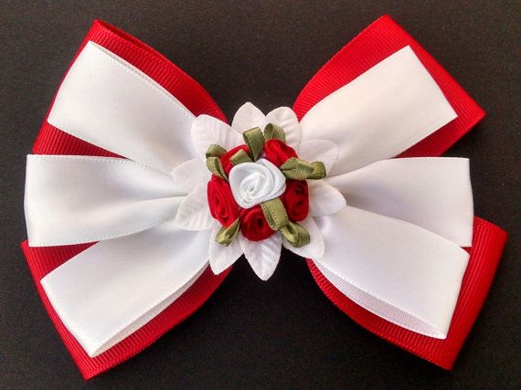 Valentine Hairbow Girls Hairbow Red Rose by GloriaMillerCreation