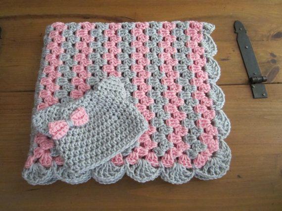 baby girl blanket set, crochet granny stripe, crochet blanket, kitty ...