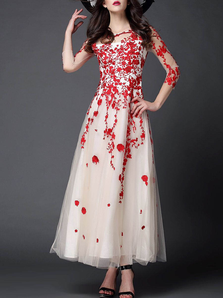 d2fb3aa73f4 Red Embroidered Evening Floral A-line Evening Dress - StyleWe.com ...