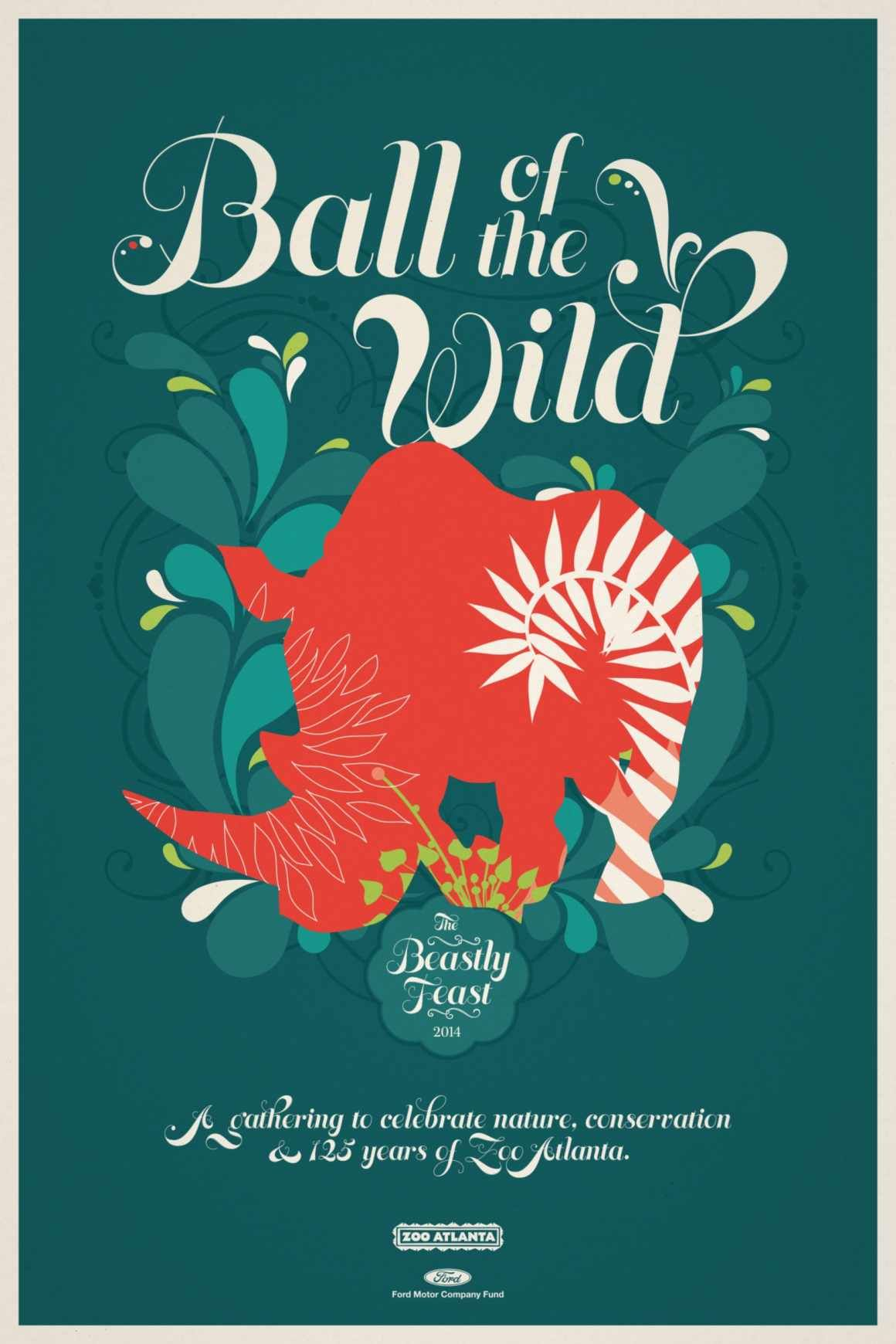 Zoo Atlanta Beastly Feast Rhino Ball Of The Wild A Gathering To Celebrate Nature Conserva Atlanta Zoo Graphic Design Illustration Graphic Design Typography