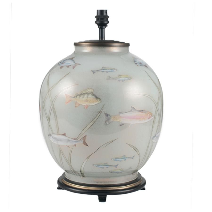 Jenny Worrall Fish Distressed Gold Light Blue Large Table Lamp In