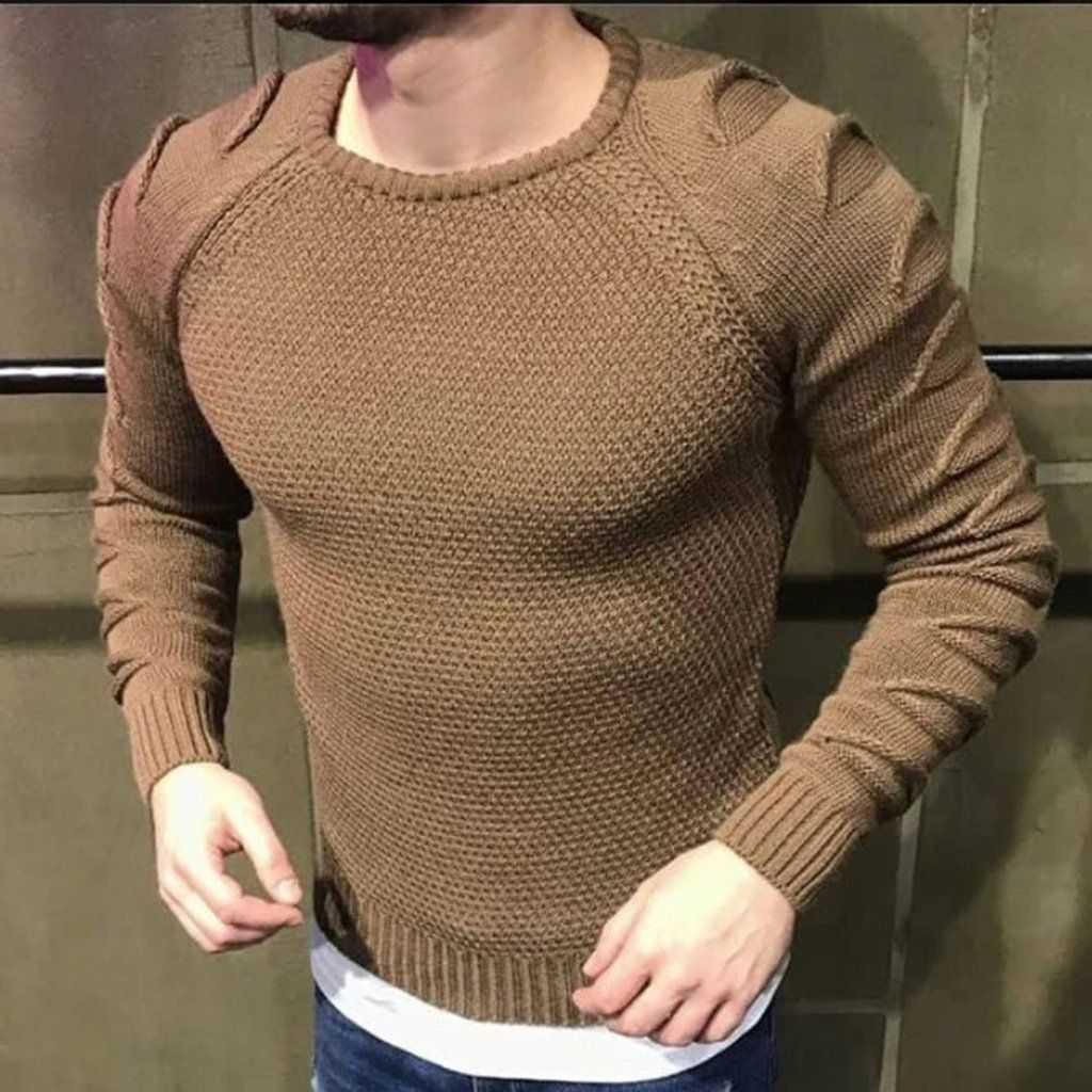 Stylish And Simple Gentleman Solid Color Round Neck