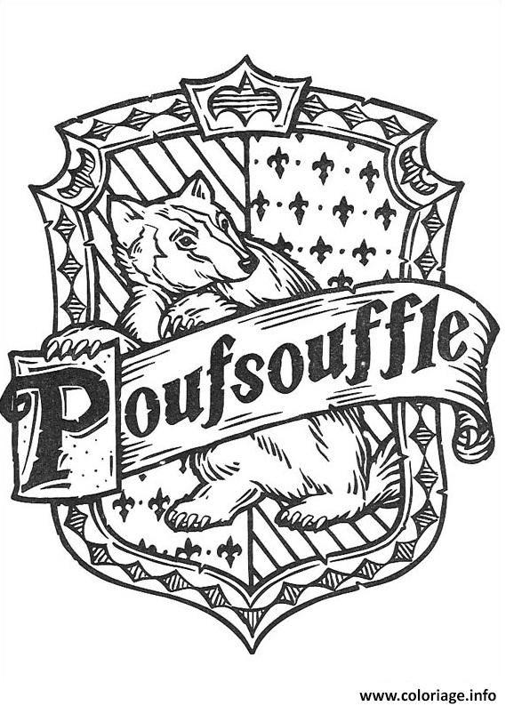 Coloriage blason de Poufsouffle Harry Potter Dessin à
