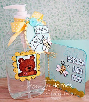 Sweet Little Baby Card And Bottle Of Hand Sanitizer Decorated For