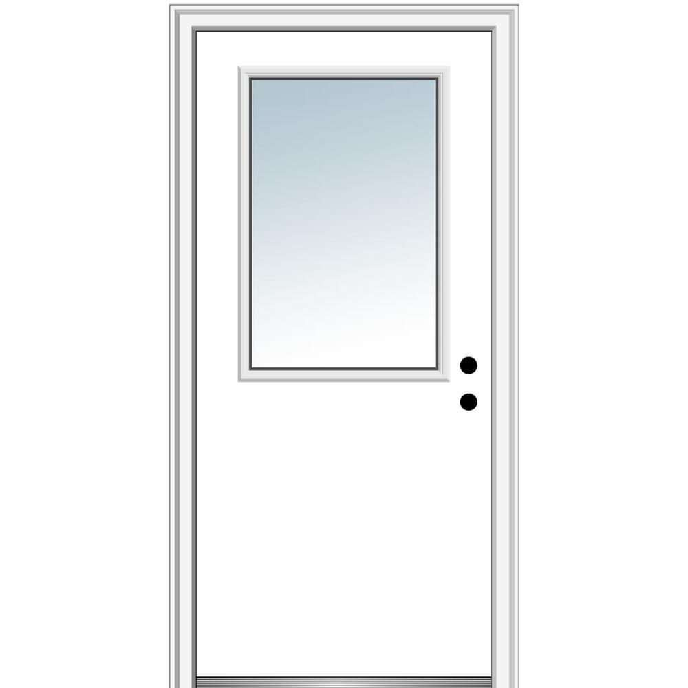 Mmi Door 30 In X 80 In Left Hand Inswing 1 2 Lite Clear Classic Flush Primed Fiberglass Smooth Prehung Front Door Primed Doors Classic Doors Prehung Doors