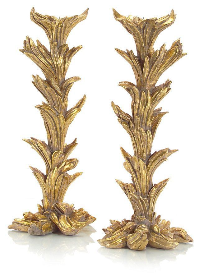 Pair of Briars Candlesticks, Gold