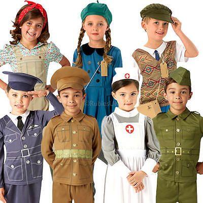 Army Boy Costume WW2 War Soldier Historical Childs Kids Boys Fancy Dress Costume