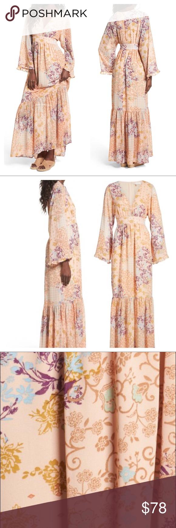 New wayf viola bell sleeve maxi dress nwt in my posh picks