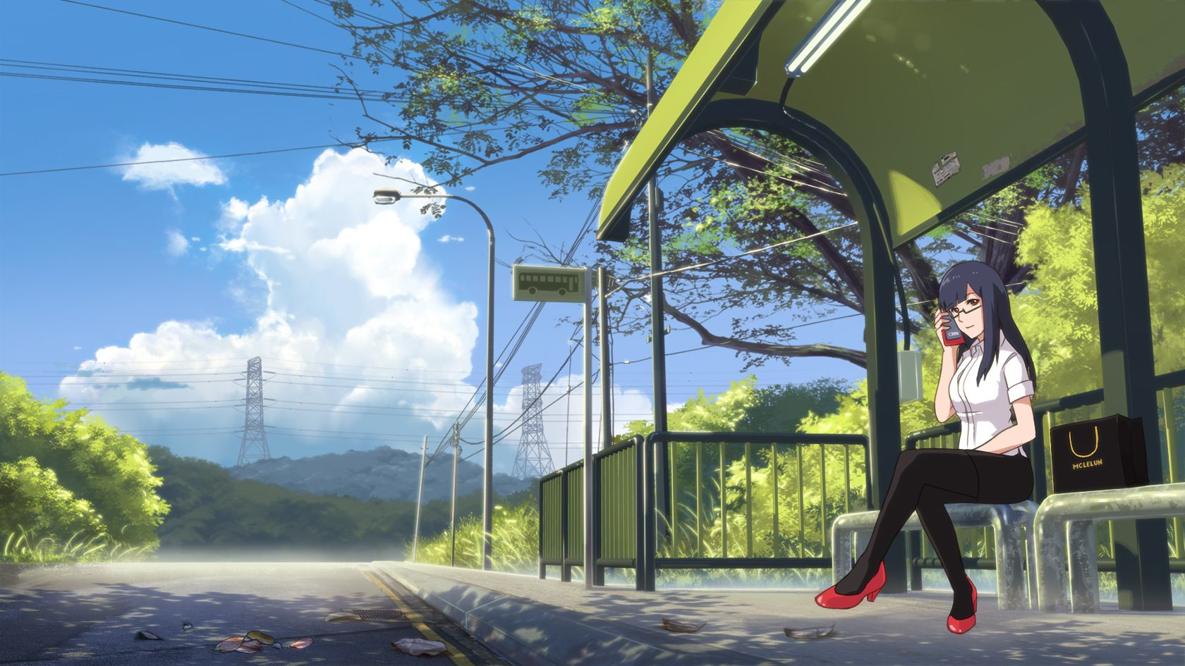 Painting Anime Bus Stop Scene With Images Anime Background