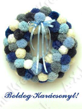 Christmas pom pom wreath