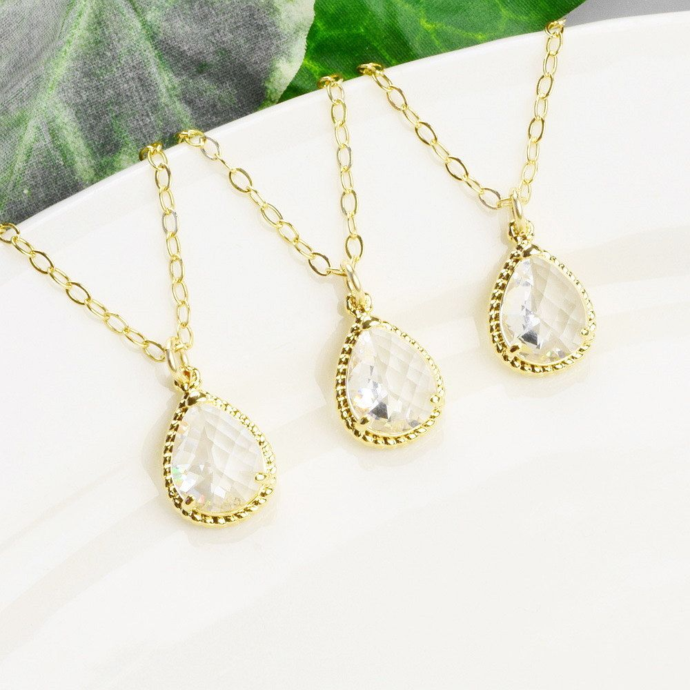 Bridemaid jewelry set of off clear crystal bridesmaid