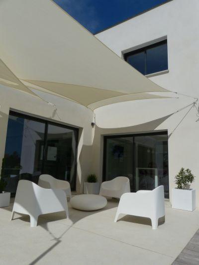 sun shade sail arquitectura Pinterest Toldos vela, Cortinas y - sombras para patios