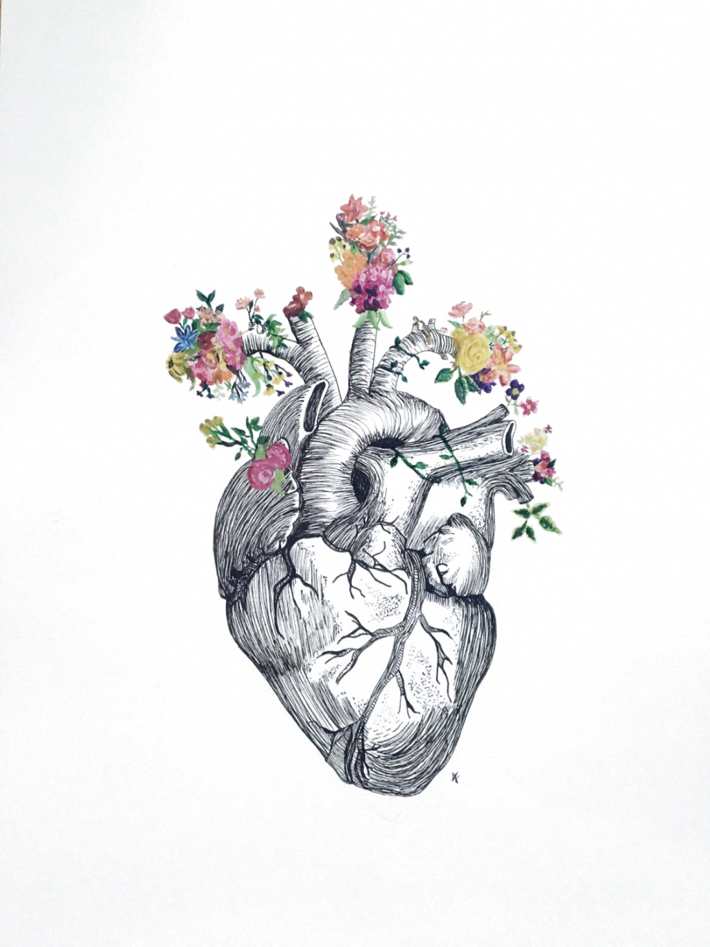 Anatomical Heart Flowers Etsy Anatomical Heart Art Heart Drawing Anatomical Heart Drawing