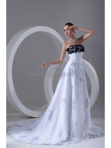 Organza Strapless Neckline Sweep Train A-line Embroidered Wedding Dress