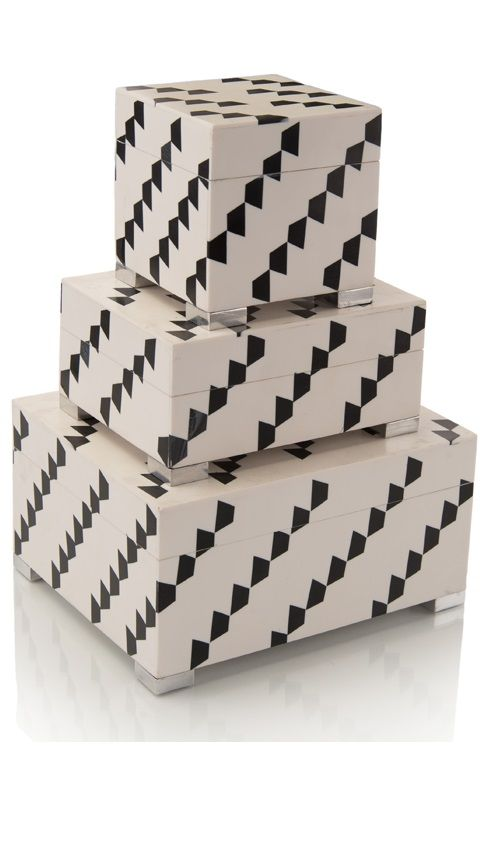 Black And White Decorative Boxes Black And White Patterned Inlaid Boxes  Black & White Home