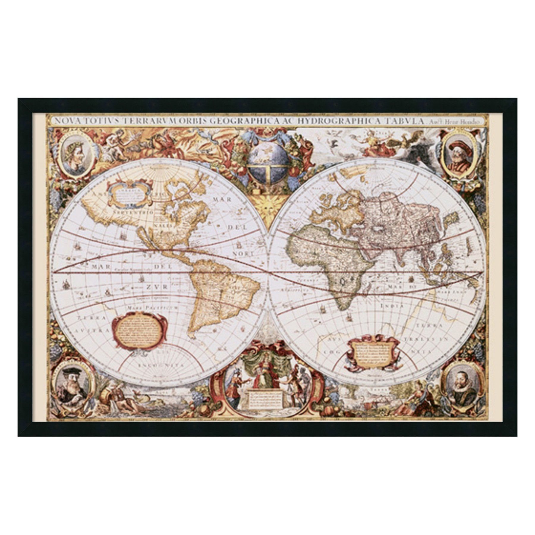Map of the world framed wall art by hondio jansson 374w x 254h map of the world framed wall art by hondio jansson 374w x 254 gumiabroncs Image collections