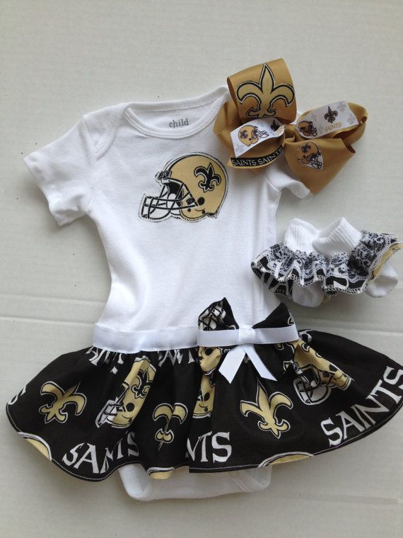 c8aec34e New Orleans Saints Baby Girl With Bow & Socks by HONEELOU on Etsy ...
